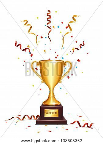 Winner gold cup with serpentine isolated on white background.