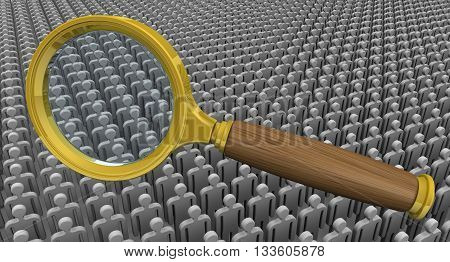 Recruitment (search) personnel. Magnifying glass on the background of a large number of symbolic people. The concept of recruitment. 3D Illustration