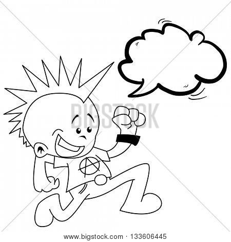 black and white little punk with speech bubble cartoon