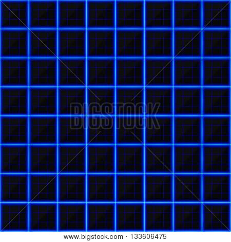 Squares of black stone with blue streaks of energy. Seamless exture. Technology seamless pattern. Geometric dark background.