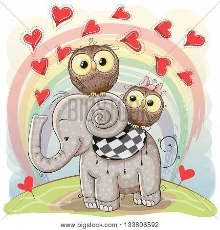 Cute Cartoon Elephant and Two Owls on a rainbow background
