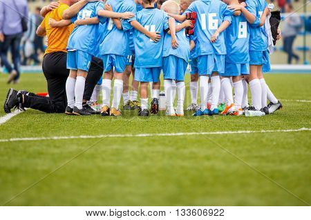 Football match for children. shout team football soccer game. team work