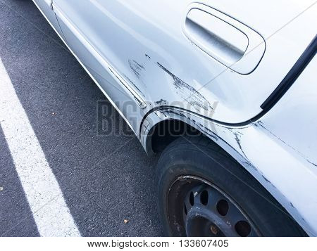 Car color scratched from - the accident