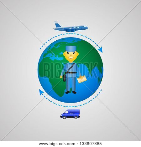 Vector illustration of the concept of mail delivery. Infographics sending letters.