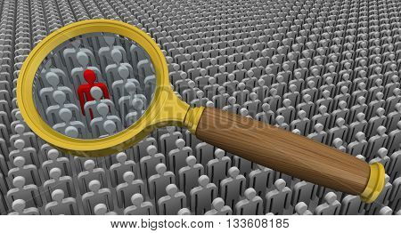 Recruitment (search) personnel. Magnifying glass on the background of a large number of symbolic people and the one red. The concept of recruitment. 3D Illustration