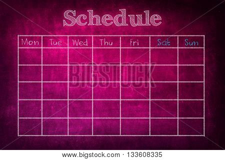Schedule on pink chalkboard - for class