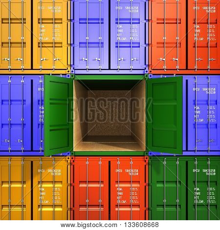 Background Of The Transport Containers With One Open In The Middle The Concept Of Freight Traffic 3D