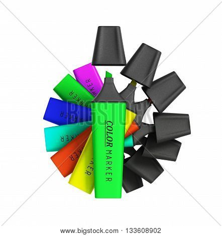Multicolored Markers 3D Render Isolated On A White Background