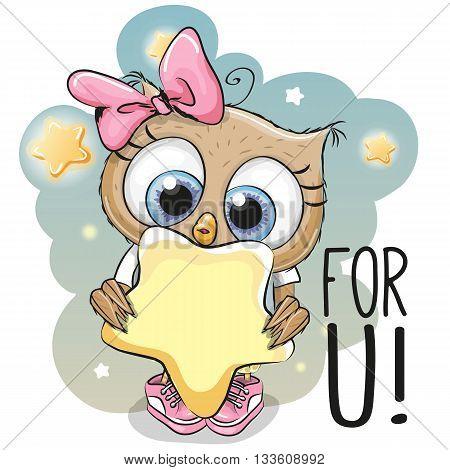 Cute Cartoon Owl girl with star on the stars background