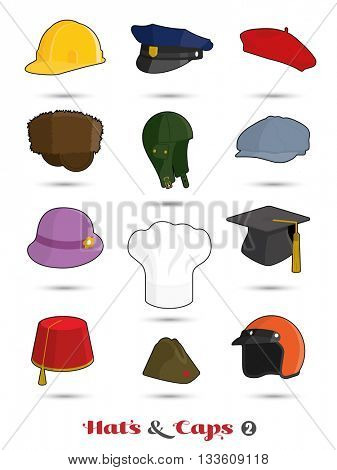 Collection of hats and caps icons, set 2