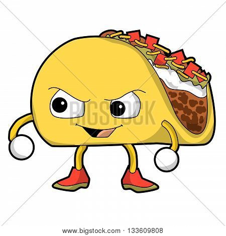 A cartoon taco with evil smirk on his face