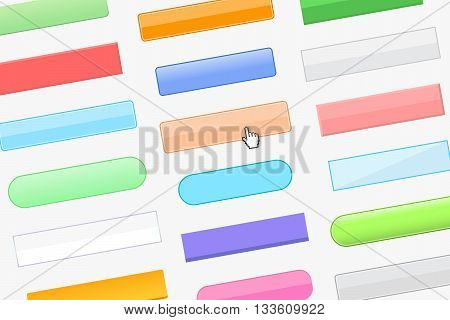 Variety of buttons for website and cursor-hand on gray background. Beautiful buttons and web design concept