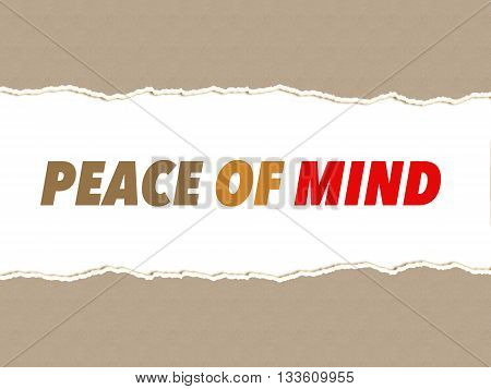 Peace of mind quote on torn paper