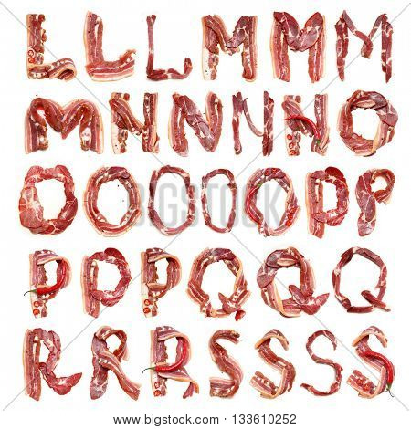 Collection meat alphabet. Fresh Meat alphabet. Bacon alphabet. Litter. Bacon litter.