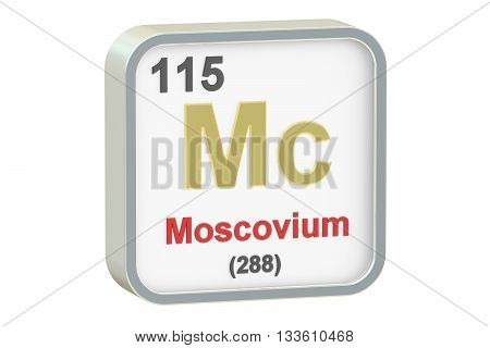 Moscovium chemical element isolated on white background 3D rendering