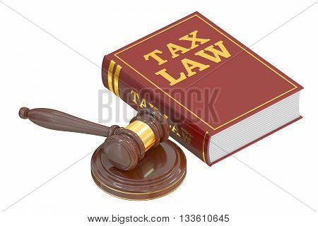 Wooden Gavel and Tax Law Book 3D rendering isolated on white background