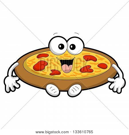 A cartoon of a round animated pepperoni pizza