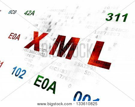 Software concept: Pixelated red text Xml on Digital wall background with Hexadecimal Code