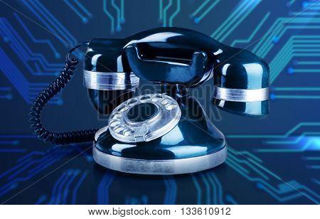 Retro phone on telephone network background