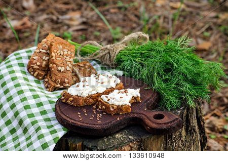 A picnic with sandwiches with ricotta and flax seeds and dill