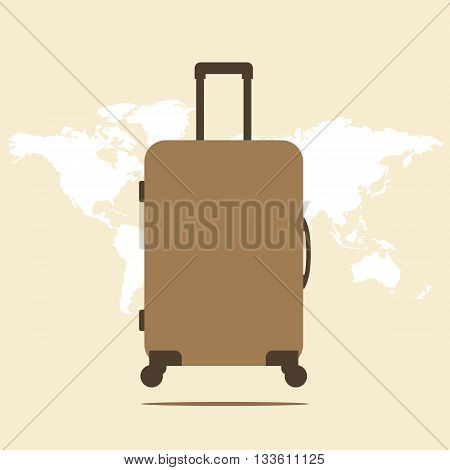 Suitcase. Icon suitcase. Suitcase illustration on a world map background. Vector illustration.