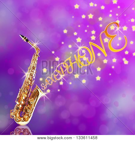 Golden saxophone with stars coming out against purple background