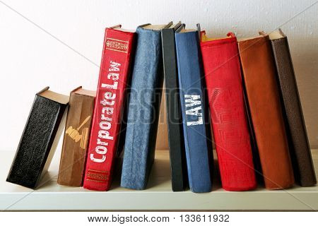 Books on shelf,  Corporate Law concept