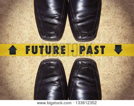 Black men shoes with words Future - Past