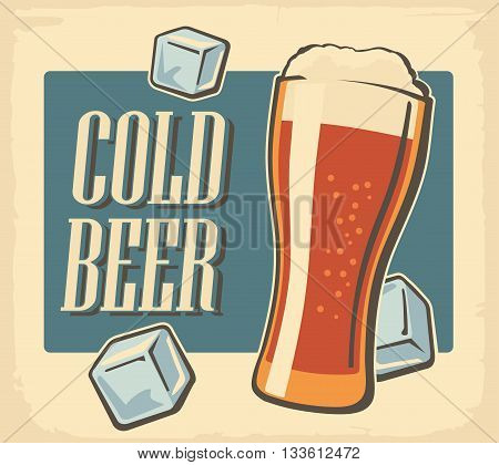Vintage poster cold beer and ice cube. Retro label or banner design. Vector old paper texture bright background. For emblem poster Logo web info graphic horizontal.