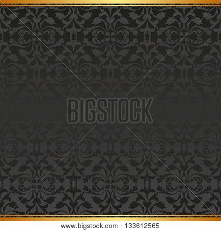 black background with vintage pattern - vector illustration