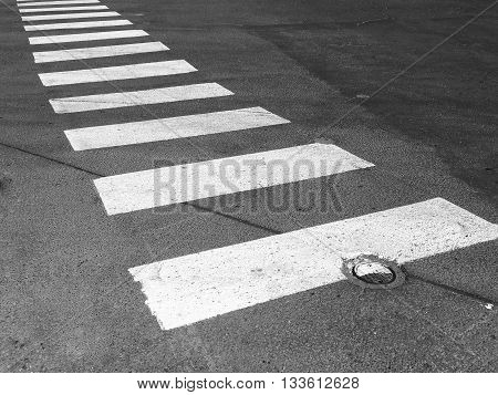 crosswalk in residential area black and white tone