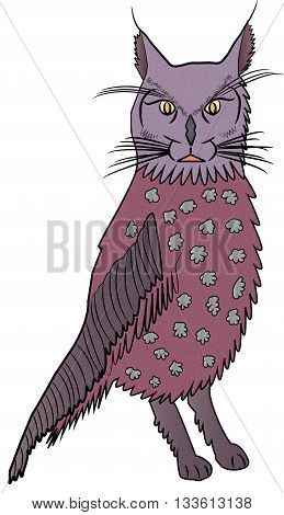 Illustration of a imaginary animal Owl - Cat.