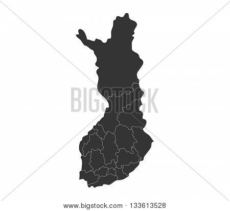 map of Finland with regions illustrated on a white background