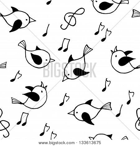 Seamless pattern with black and white funny birds. Vector illustration.
