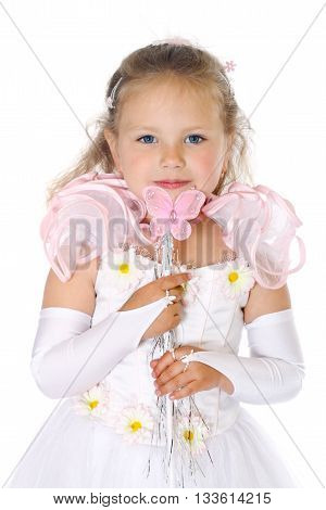 young blue eyes child with light hair wears white dress and holds magic wand with a butterfly. Half-lenght portrait on white background, isolated