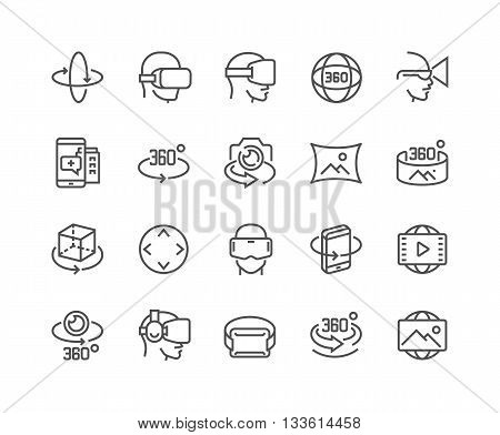 Simple Set of 360 Degree Image and Video Related Vector Line Icons.