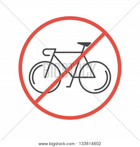 Modern Illustration of Bicycles Prohibited Symbol. Black outline bike in a red slashed circle isolated on a white background. No cycles sign made in trendy thin line style vector.