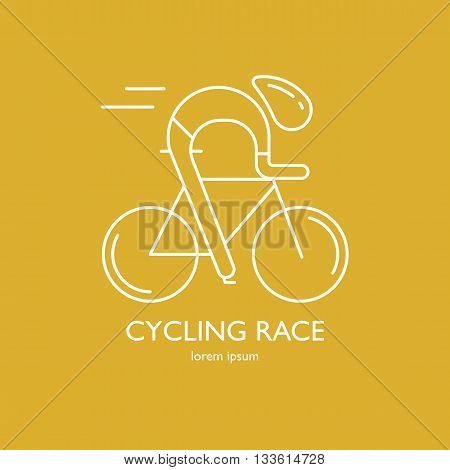 Modern Illustration of cyclist. White outline bicyclist isolated on yellow background. For use as design element, logo or sticker. Bicycle racer made in trendy thin line style vector.