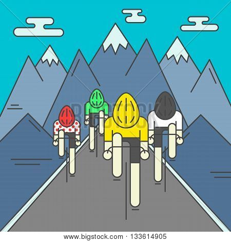Modern Illustration of cyclists on the road. Colorful bright bicyclists on rocky mountains background. For use as design element or poster. Bicycle racers made in trendy flat style vector.