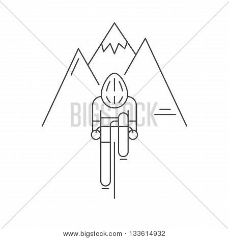 Modern Illustration of cyclist from front view. Black outline bicyclist on rocky mountains background. For use as design element, sticker or poster. Bicycle racer made in trendy thin line style vector