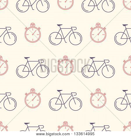 Decorative seamless pattern with racing bikes and stopwatch. For fabric design, wallpaper, wrapping. Endless trendy ornament with elements made in trendy thin line style vector.