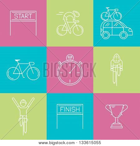Set of 9 Bicycle Race modern linear icons. White outline templates of cycling competition isolated on colorful background. Bicycling elements made in trendy thin line style vector.