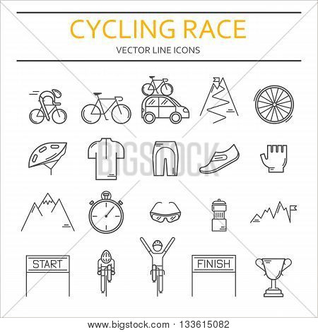 Set of 20 Bicycle Race modern linear icons. Black outline templates of cycling competition isolated on white. Bicycling championship elements made in trendy thin line style vector.