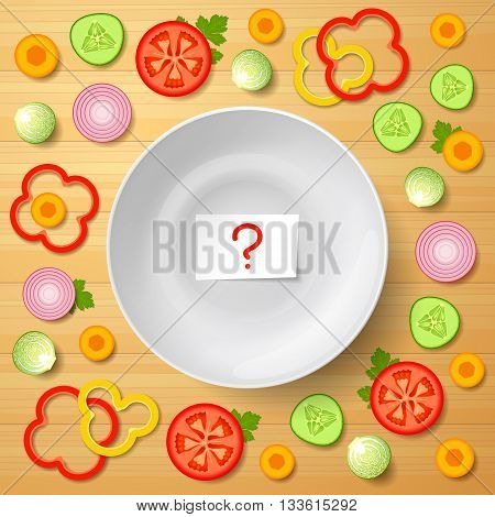 A variety of sliced vegetables is lying around white bowl paper with question mark inside bowl on wooden background. Assorted vegetables for salad. Raw food diet and vegetarian diet