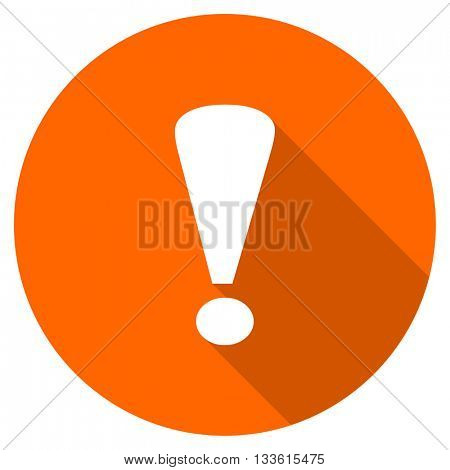exclamation sign vector icon, circle flat design internet button, web and mobile app illustration