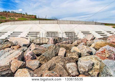 Massive stone breakwater along coast of Odessa, Ukraine
