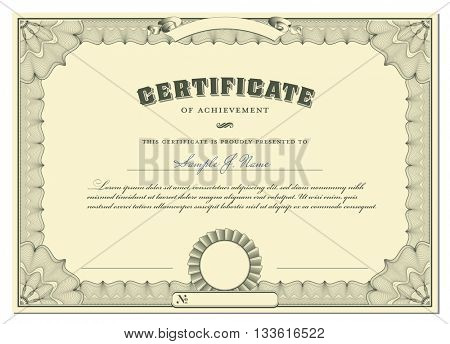 classical certificate with guilloche border, add. elements