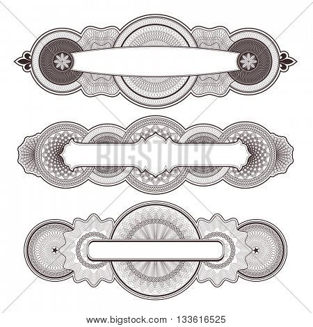 three highly detailed guilloche panels/design elements
