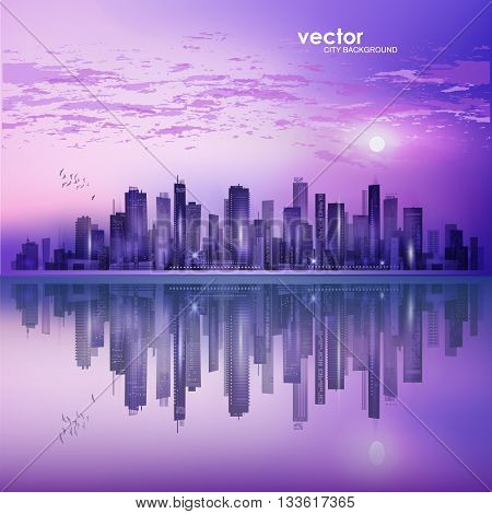 Modern Night City Skyline In Moonlight Or Sunset, With Reflection In Water And Cloudy Sky