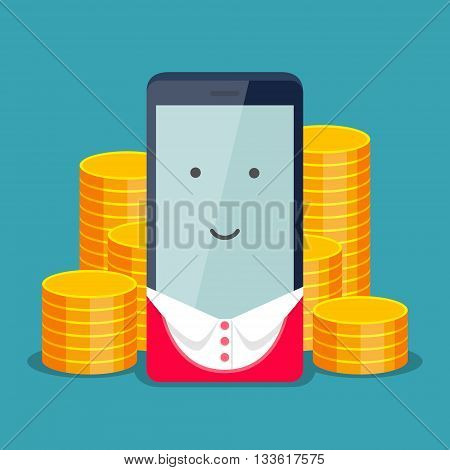 Modern phone for business woman and gold coins behind it on blue background. The positive account and service payment